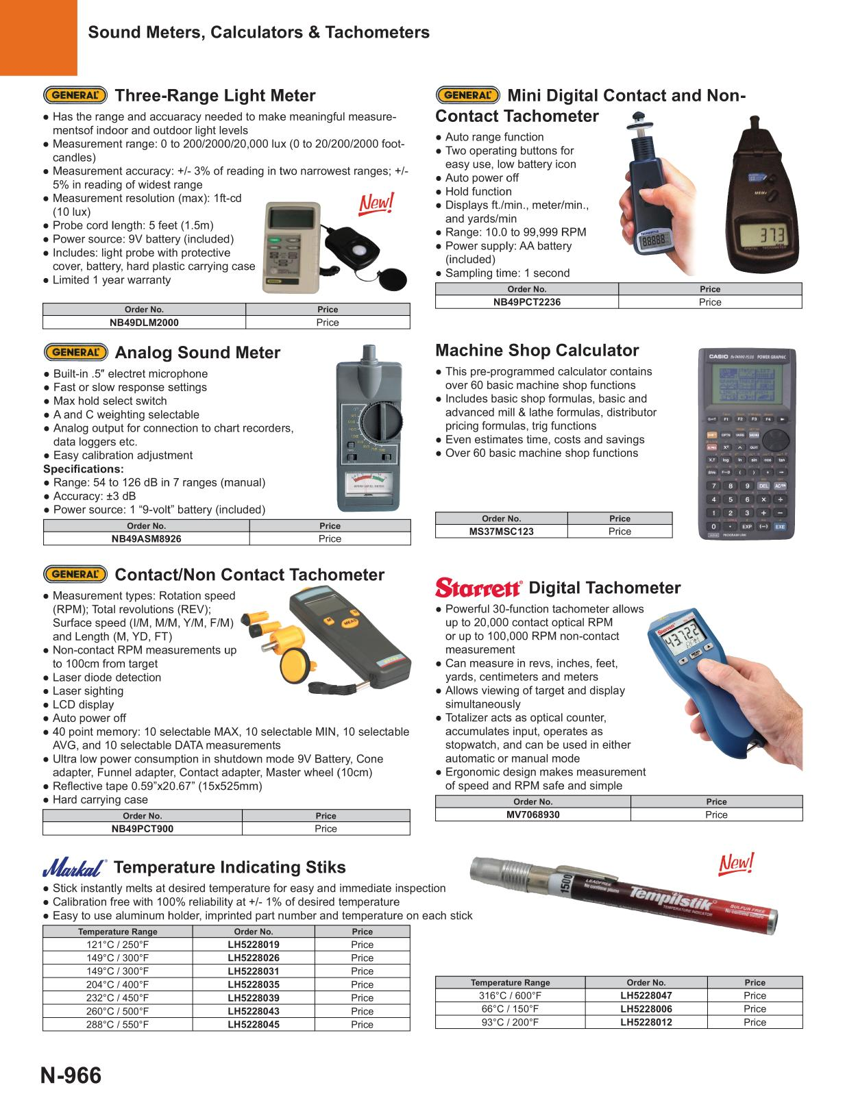 2017 master catalog page 966 measuring tools
